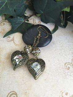 Victorian heart earrings crystal heart earrings by ABBGDesigns