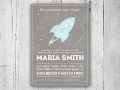 Outer Space Baby Shower Invitation  Space Baby by SugarPinkDesigns