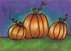 "original acrylic and pastel ""Pumpkin Trio"" for #fall or #Halloween"
