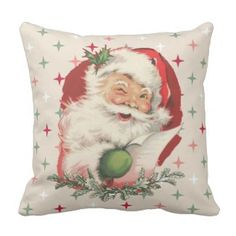 Winking Vintage Santa Claus Christmas Pattern Throw Pillow 40% off with code LOVEZGIFTS50 #christmasthrowpillows #christmaspillows #christmasdecor #holidaythrowpillows #christmasholidaythrowpillows #christmas