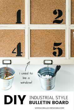 Industrial DIY Bulletin Board - From a Repurposed Window • Grillo Designs