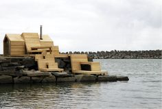 Norwegian students build a contemporary wooden sauna on the sea!