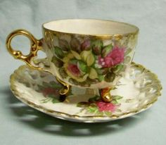 Classica Japan Opalescent Footed Tea Cup Saucer Roses Gold Trim Photos and Information in AncientPoint