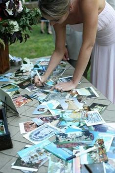 Guestbook idea. Have guests sign postcards from Hawaii with wishes. Insert into album