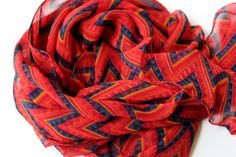 Red and blue chevron scarf