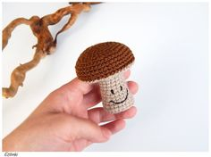 Smiley mushroom. Stuffed playfood. Soft eco-friendly toys. Kitchen decor. Crochet autumn decoration. Magical forest. Kids fairy gifts.