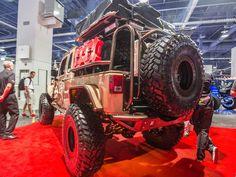 A.D.D. Tan Jeep Wrangler JKU 2015 A.D.D. Rear Bumper MetalCloak Fender Flares Cargo Rack Tire Carrier SEMA 2015
