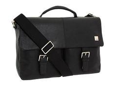 KNOMO London Jackson Top Handle Laptop Briefcase Black Leather - Zappos.com Free Shipping BOTH Ways
