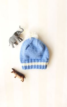 f35641d40 Retro Baby Boy Hat in Blue Knit with a White Pom Pom 0-6 months ...