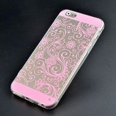 iPhone 5/5S/SE Clear PolyCarbonate with a Light Pink Filigree Design.