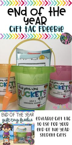 Looking for the perfect end of the year gift for your students? Fill a sand bucket full of chalk, bubbles, pencils, a book, and include a few reading and math activities to review over the summer. Use this gift tag FREEBIE that is editable to write your name and your gift is complete. Click the picture to read more.