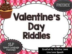This freebie activity has been created by Kristine at Live Love Speech.It is for students to solve Valentines Day themed riddles.How to play:Students take turns choosing and reading cards.  Once answered correctly, the student collects the card. If a student draws a double cupcake, he/she gets a free turn!