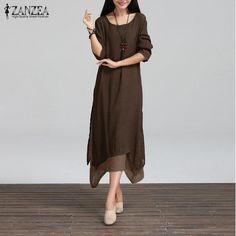 57c13886ba 2016 Spring Women Cotton Linen Vintage Dress Ladies O Neck Full Sleeve  Casual Loose Boho Mid-calf Dresses Vestidos Plus Size