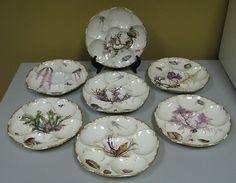 Antique Limoges Haviland Oyster Plates Set of 7 Sea Life 1890 19th |