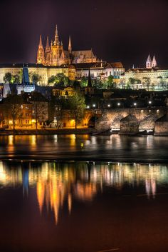 Gorgeous Prague, at night, in the Czech Republic. Beautiful Places In The World, Places Around The World, Around The Worlds, Places To Travel, Places To See, Prague Czech Republic, Heart Of Europe, Triomphe, Exotic Places