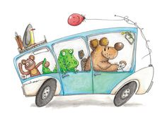 zoo animals  A4 art print  taking a vacation by katiejardineART