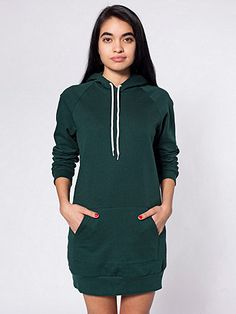 This dress has a classic hoody pullover feel but has a feminine fit with extra length.  Can be layered or worn as a dress.