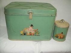 1940s vintage NESCO METAL TIN JADITE GREEN BREAD BOX TEA CANISTER GARDEN LADY | eBay