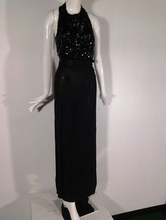 1930s Black Sequin Gown with Racer Back | From a collection of rare vintage evening dresses at https://www.1stdibs.com/fashion/clothing/evening-dresses/
