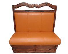 Booth clásico troquelado.  Descripción: Diseño: Troquelado con remaches Color: Diseño Asiento: Vinil naranja  2 Personas