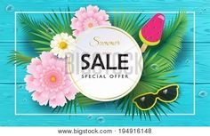 Big Sale Summer special offer gift banner. Beautiful exotic flowers frame, floral tropical palm leaves background, blue wood texture pattern. For business, voucher, banners, posters graphic design