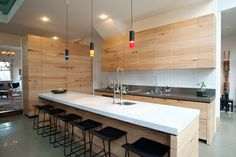 Kitchen cabinets, recycled timber and medium density fiberboard from nestarchitects.com.au