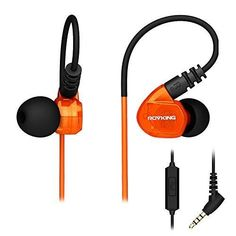 ROVKING Over Ear In Ear Noise Isolating Sweatproof Sport Headphones Earbuds Earphones with Remote and Mic Earhook Wired Stereo Workout Earpods for Running Jogging Gym for iPhone iPod Samsung (Orange)