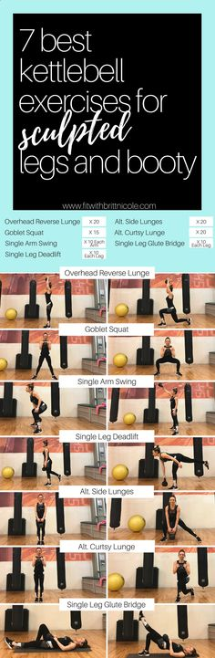 7 best kettlebell exercises for sculpted legs and booty! This is a workout you can do anywhere - you just need a kettlebell for this awesome kettlebell workout!