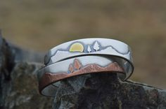 Cuff bracelets make a great canvas for these beautiful mixed metal nature scenes.