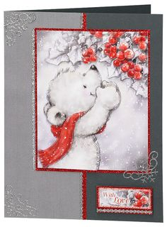 https://flic.kr/p/hEZ1Nj | Craft Creations - Jenny096 | Card made by Jenny Kearley using products from Craft Creations Ltd. www.craftcreations.com      SF01C-174 - Dark Grey Colorset Card Blank. DCD579 - Bear with Berries Découpage Sheet. SR302P - Grey Weave Creative Paper. GB05A4 - Red Glitter Board. ZL793U-42 - Silver Glitter Dotty Border Peel-Off Stickers. ZL806U-42 - Silver Glitter Snowflake Corner Peel-Off Stickers.