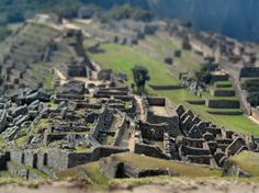 Machu Pichu--The tilt shift lens, often used in architectural photography, is fun to use for rendering actual settings into scale-model worlds in which people look like toy figures.