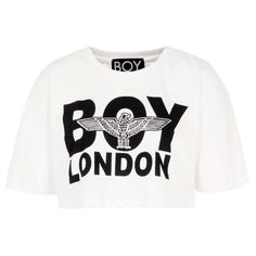 Boy London White Crop Top (€47) ❤ liked on Polyvore featuring tops, t-shirts, shirts, crop tops, blusas, white graphic tees, crop t shirt, round neck t shirt, loose fit t shirts and short sleeve shirts
