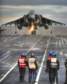 Sailors watch how a BAe Harrier II GR.9 of Royal Navy performs a vertical landing aboard the aircraft carrier HMS Ark Royal (R07) . ➖ ➖ ➖…