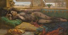 """A reclining beauty"" by Arthur Bridgman. An odalisque daydreams by the windows of the harem, during her siesta in the heat of midday."