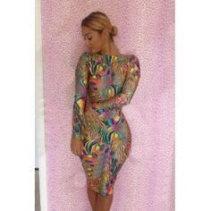 USD12.49Fashion O Neck Long Sleeve Sheath Knee Length  Polyester Dress