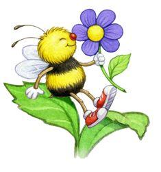 "Photo from album ""Art Flowers"" on Yandex. Cartoon Drawings, Cute Drawings, Animal Drawings, Bee Rocks, Bee Drawing, Arte Country, Bee Art, Whimsical Art, Cute Illustration"