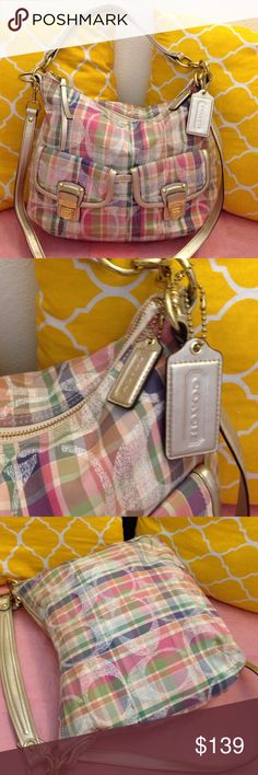 Coach Poppy Daisy Madras Rare coach poppy! In great condition. Its a large size. Multicolor coach authentic. Coach Bags Satchels