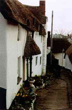 Cob Village, Somerset, England. Cob building is from hundreds of years ago.