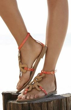 Love the subtle touch of orange on these Nine West 'Saddie 3' sandals.