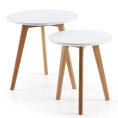 Set de 2 mesas auxiliares Kirb, blanco redondo