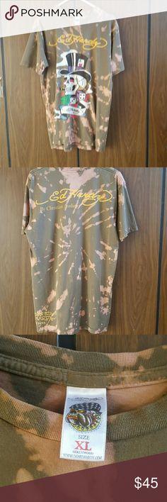 Custom Ed Hardy tie-dyed, bleached,t shirt. Custom Ed Hardy tie-dyed,bleached,Tshirt. Size XL Ed Hardy Shirts