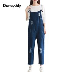 025bdfdb980d Women Ripped Denim Jumpsuits Casual Sexy Stretch Romper Jeans Pants Denim  Loose Suspender Pants Overalls For 4 season Dunayskiy-in Jumpsuits from  Women s ...