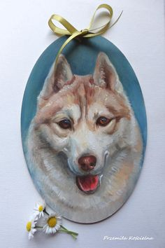 Siberian Husky Oval Door Decoration Hand painted on wooden