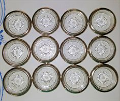 Beautiful Vintage Glass and Silver Plate Coaster Leonard Italy Set of 12 #Leonard