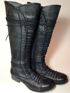 Vintage Women's Knee High Boots Black Lace Up Size 8.5 Steampunk Rocker Chick Punk Rock Grunge Combat