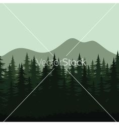 Seamless mountain landscape forest silhouettes vector 2212514 - by oksanaok on VectorStock®