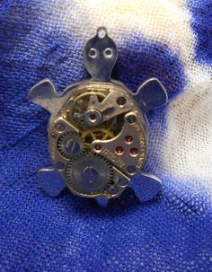 Upcycled Genuine Watch Part Steampunk Turtle by jewelrybymatt, $39.00