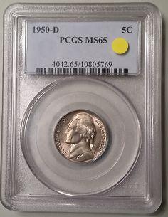 Key Date 1950-D Denver Jefferson Nickel graded MS65 Mint State by PCGS