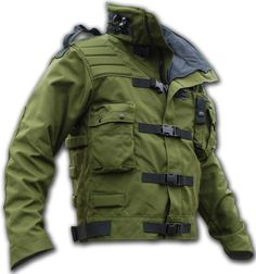 "Cool stuff from the Kitanica brand.i saw this jacket on ""Mythbuster"" Adam Tactical Wear, Tactical Clothing, Tactical Survival, Tactical Jacket, Zombie Survival Gear, Flak Jacket, Outdoor Outfit, Outdoor Gear, Survival Clothing"