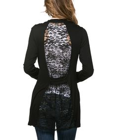 Loving this Magic Fit Black Lace-Back Open Cardigan on #zulily! #zulilyfinds